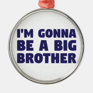 Gehen, ein großer Bruder zu sein Rundes Silberfarbenes Ornament