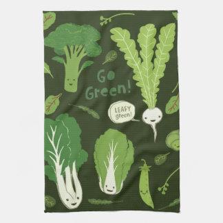 Gehen Grün! (Belaubtes Grün!) glückliche Veggies Geschirrtuch