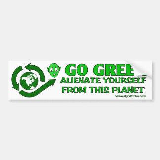 Gehen Grün. Entfremden Sie sich von diesem Autoaufkleber