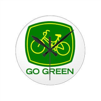 Gehen Grün Runde Wanduhr