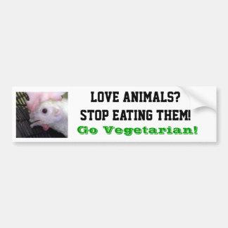 Gehen Henne-Autoaufkleber vegetarischer