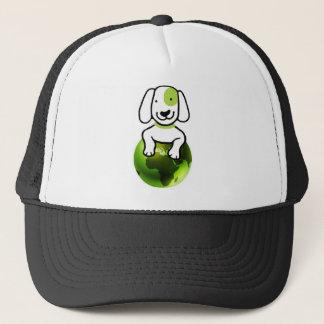 Gehen Hund grüner Truckerkappe