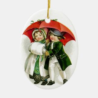Gehen in ein Winter-Märchenland Ovales Keramik Ornament