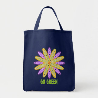 Gehen Kaleidoskop-BlumenEinkaufstüte grünes Tragetasche