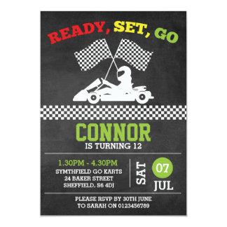 Gehen-Karting themed Geburtstags-Party Einladung