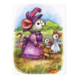 Gehen mit Großmutter - niedliche Postkarte