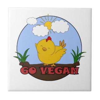 Gehen - niedliches Küken vegan Fliese