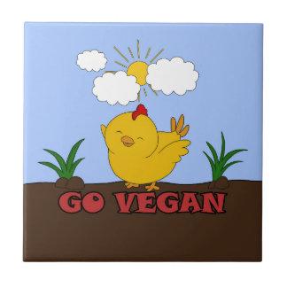 Gehen - niedliches Küken vegan Keramikfliese