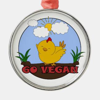 Gehen - niedliches Küken vegan Silbernes Ornament