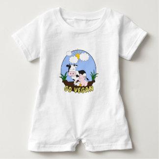 Gehen - niedliches Schwein, Kuh und Huhn vegan Baby Strampler