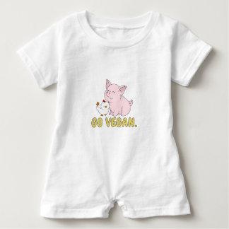 Gehen - niedliches Schwein und Huhn vegan Baby Strampler