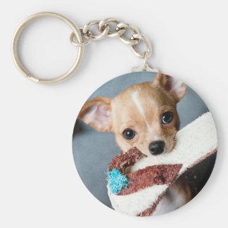 Gehen Reichweite-Chihuahua Standard Runder Schlüsselanhänger