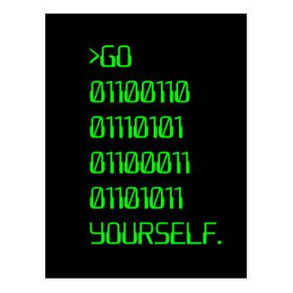 Gehen Sie (binäres Schimpfwort) sich Postkarte