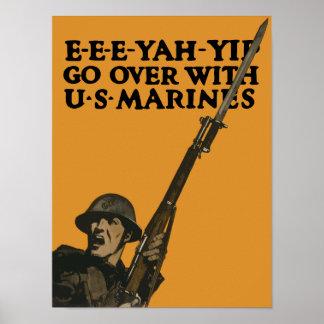 Gehen Sie darüber mit Marinesoldaten hinaus -- WWI Poster