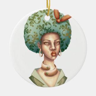 Gehen Sie mit für - Dame mit grüner Keramik Ornament
