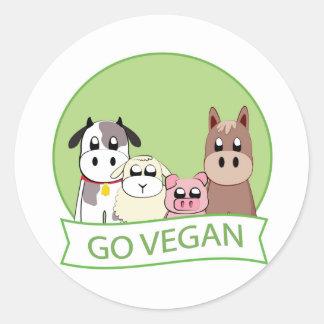 Gehen Sie vegan Runder Aufkleber
