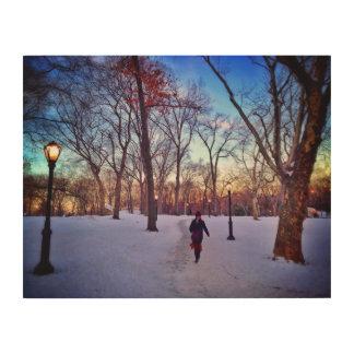 Gehen unter einen Winter-Sonnenuntergang Holzdruck