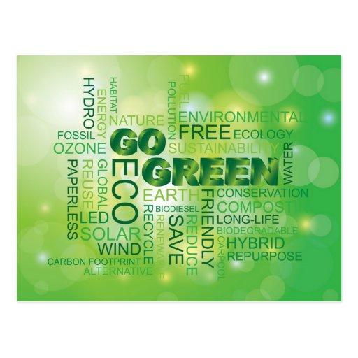 Gehen Wort-Wolken-Postkarte grüne