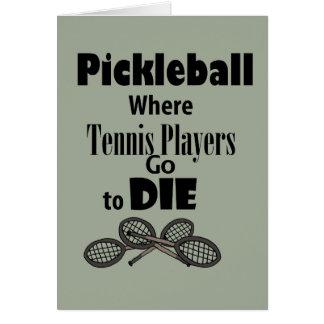 Gehen zu, lustiges Pickleball, dem Tennis-Spieler Karte