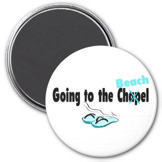 Gehen zur Kapelle (Strand) 1 Runder Magnet 7,6 Cm