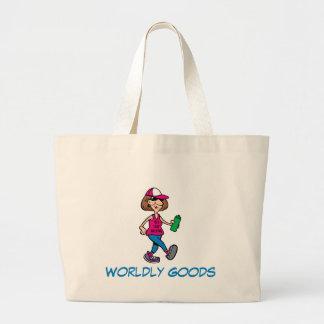 Gehende riesige Tasche Tasche alter Damen-