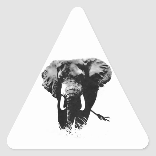 Gehender Elefant Dreieckige Aufkleber