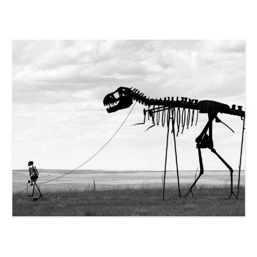 Gehender skeleton Dinosaurier des Skeleton Mannes, Postkarten