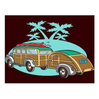 Gehendes Camping in meinem Woody Postkarte