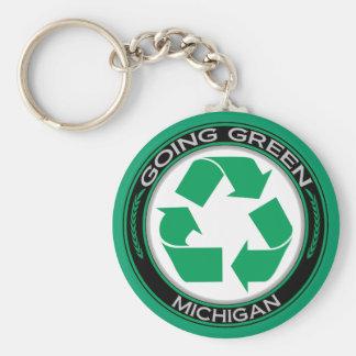 Gehendes Grün recyceln Michigan Schlüsselanhänger