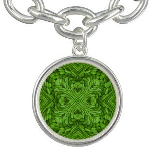 Gehendes grünes Vintages Muster-Charme-Armband Armband