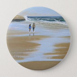 Gehendes Knopf ~ der Strand Runder Button 10,2 Cm