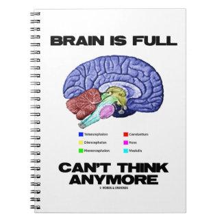 Gehirn ist kann nicht mehr denken voll spiral notizblock