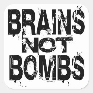 Gehirn-nicht Bomben-Aufkleber Quadrat-Aufkleber