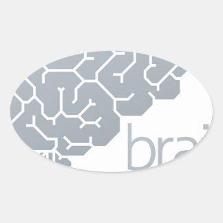 Gehirn-Seitenkonzept Ovaler Aufkleber