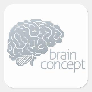 Gehirn-Seitenkonzept Quadratischer Aufkleber
