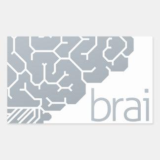 Gehirn-Seitenkonzept Rechteckiger Aufkleber