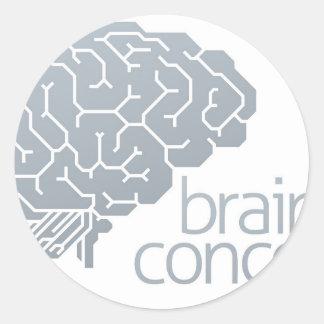 Gehirn-Seitenkonzept Runder Aufkleber
