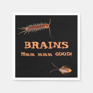 Gehirne. Mmm mmm gut! Hungriger Zombie Halloween Papierserviette