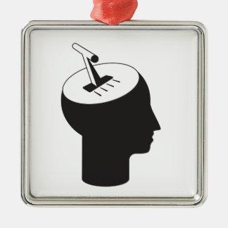 Gehirnmodus - denkender Schiebehebel Silbernes Ornament