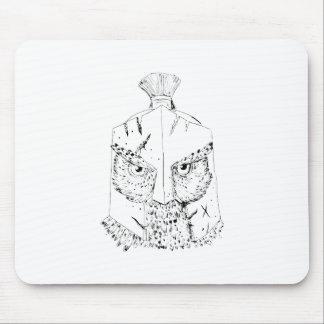 Gehörnte Eulen-spartanisches Sturzhelm-Zeichnen Mousepad
