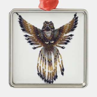 Gehörnte wulstige Eule Silbernes Ornament