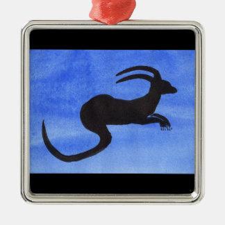 Gehörntes Tier Quadratisches Silberfarbenes Ornament