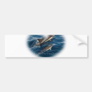 Geht Blau für den Ozean-Mutter-und Kinderdelphin Autoaufkleber