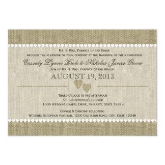 Gehütete Herzen und Leinwand-Hochzeit 12,7 X 17,8 Cm Einladungskarte