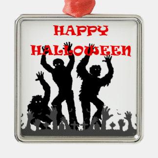 Geifernde Zombieverzierung Halloweens Silbernes Ornament
