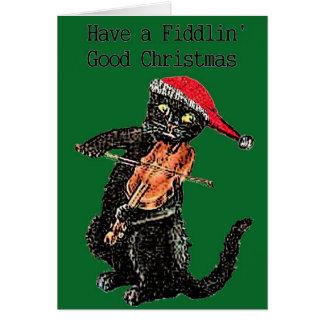 Geigen-Katzen-Weihnachtskarte Karte