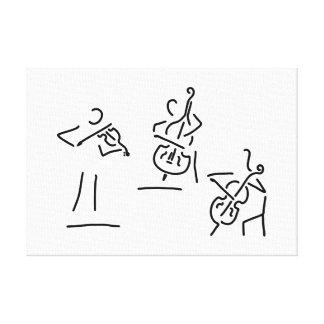 geiger cellistin streicher kontrabass leinwanddruck