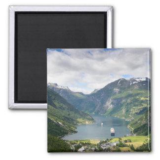 Geirangerfjord Ansicht in quadratischen Magneten Quadratischer Magnet