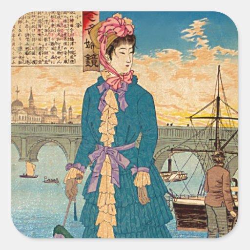 Geisha in der Westjapaner Woodblock Kunst Ukiyo-E Quadrataufkleber