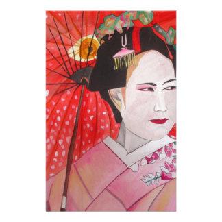Geisha mit ursprünglicher Kunstmalerei des roten Briefpapier